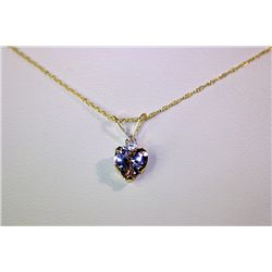 Lady's Fancy 14 kt Yellow Gold  Heart Shape  Tanzanite Necklace