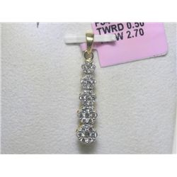 .50 CT CAll Diamonds 14K Yellow Gold Pendant and Chain