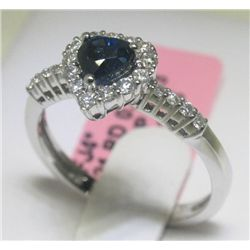 1.05 CT Blue Sapphire and .40 CT Diamonds 18K WG Ring