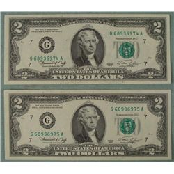 2 1976 CU $2 Dollar Bills Consecutive Numbered Chicago