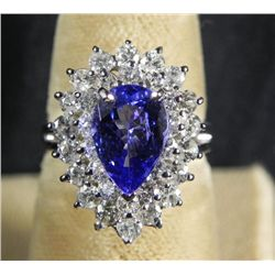 1.90 CT Tanzanite &amp; 1.43CT Diamond 14K White Gold Ring