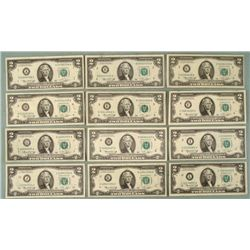 Complete Set 12 All Mint Marks 1976 $2 Bills Notes A-L