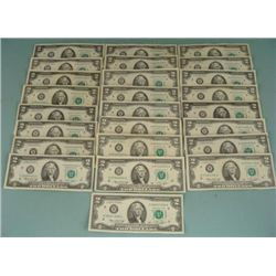 25 H Mint $2 Dollars 1976 Notes, Bills