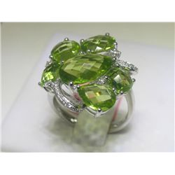 9.10 CT Peridot and .18 CT Diamonds 14K White Gold Ring