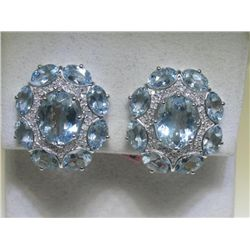 10.29 CT Aquamarine and .31 CT Diamonds 14K WG Earrings
