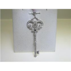 .29 CT All Diamonds 14K White Gold Key Design Pendant
