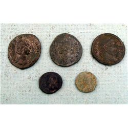 5 Ancient Roman Coins Assorted
