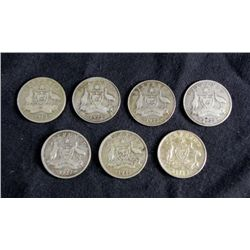 7 Mixed Dates Australia Silver Six Pence Coins 1912-42