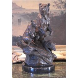 Glorious Bronze Sculpture Bear Family