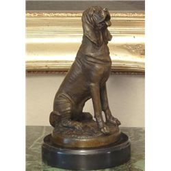 Outstanding Bronze Sculpture Seated Hound Dog