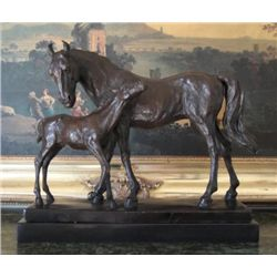 Brilliant Bronze Sculpture Equestrian Horse Mare & F