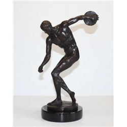 Standout Male Nude Discus Athlete Bronze Sculpture Af