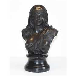 Majestic Vintage Lady Portrait Bust Bronze Sculpture