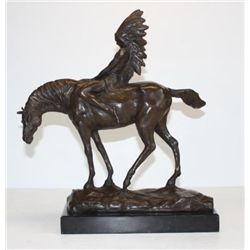 Regal Indian and Horse Bronze Sculpture After Debvt