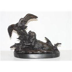 Wonderful Bronze Sculpture Retriever Hunting Dog & Duck