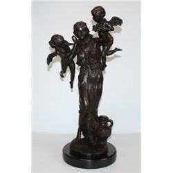 Massive Bronze Sculpture Mother and Cherubs