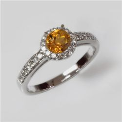 Natural 1.35 ct 2.97g Citrine & Diamond 14k WG Ring