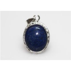 NATURAL 5.45 GRAMS LAPIS OVAL PENDANT .925 STERLING SIL