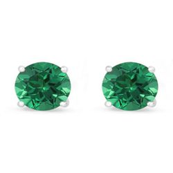 Genuine 1.60 ctw Emerald Stud Earring 14k 0.86g