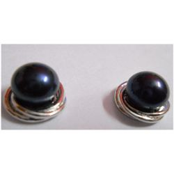 Natural 26.30 ctw Pearl Round Earrings .925 Sterling