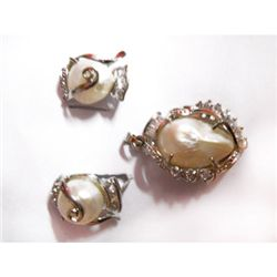 Natural 66.90 ctw Pearl Earrings/ Pendant .925 Sterling