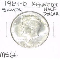 1964-D Kennedy SILVER Half Dollar *EXTREMELY RARE MS-66 HIGH GRADE - NICE COIN*!!