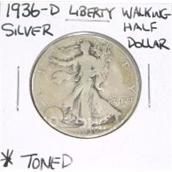 1936-D Liberty Walking SILVER Half Dollar TONED *PLEASE LOOK AT PICTURE TO DETERMINE GRADE - NICE CO