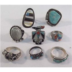 Collection of Navajo and Zuni Rings - 8 Rings