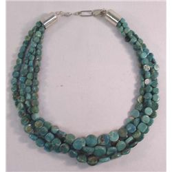 Navajo 4 Strand Turquoise Tab Necklace - Arviso