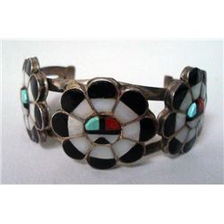 Zuni Sterling Turquoise Inlay Bracelet