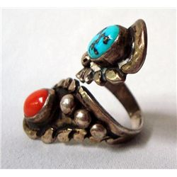 Navajo Sterling Turquoise Coral Ring