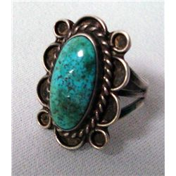 Navajo Sterling Nevada Spiderweb Turquoise Ring