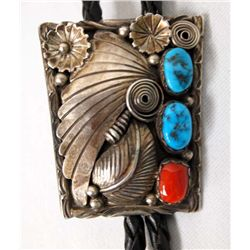 1970s Navajo Sterling Turquoise Coral Bolo