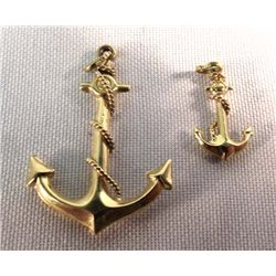 2 14K Gold Anchor Pendants