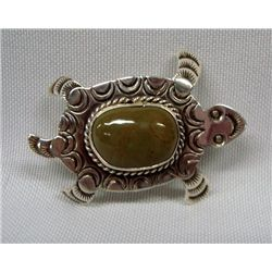 Navajo Sterling Turquoise Turtle Pin/Pendant - AJC