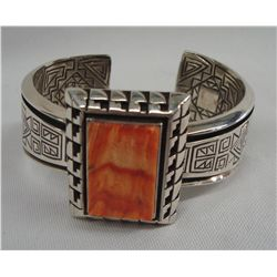 Acoma Sterling Spiny Oyster Bracelet - Tony Chino