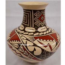 Mata Ortiz Polychrome Jar Red & Black on Tan