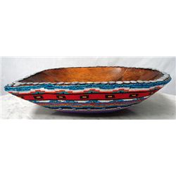 Original Beaded Decorative Wood Bowl-Kills Thunder