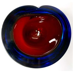 Cranberry Cobalt Leaded Glass Paper Weight