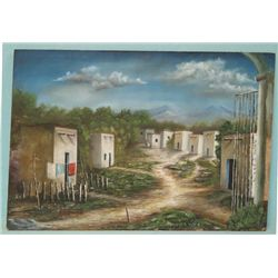 Signed Oil Painting on Board Adobe Village Scene