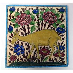 Hand Painted Ceramic Tile With Asian Deer Scene
