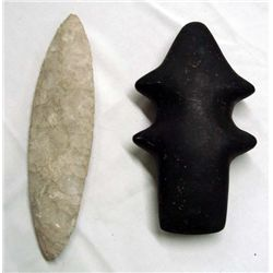 Large Stone Spearpoint & Mace Spiro Club