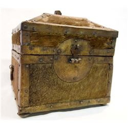 Antique Treasure Box Brass Cowhide Wood