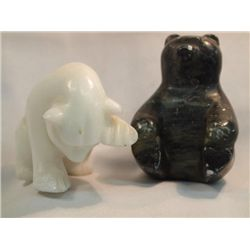 2 Eskimo Soap Stone & Marble Carved Bears
