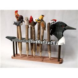 Wooden Loon Pen Holder With 8 Twig Wood Pens