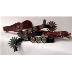 Pair Fancy Rodeo/Show Spurs Hearts and Jangle Bobs