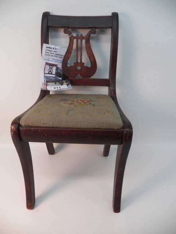 Rare Duncan Phyfe Salesmen Sample Chair - Harp Back Needle point seat.  Loading zoom - Rare Duncan Phyfe Salesmen Sample Chair - Harp Back Needle Point Seat