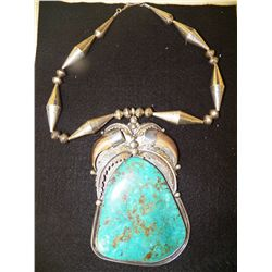 Signed Jb Quot Handmade Quot Heavy Sterling Silver Large Turquoise