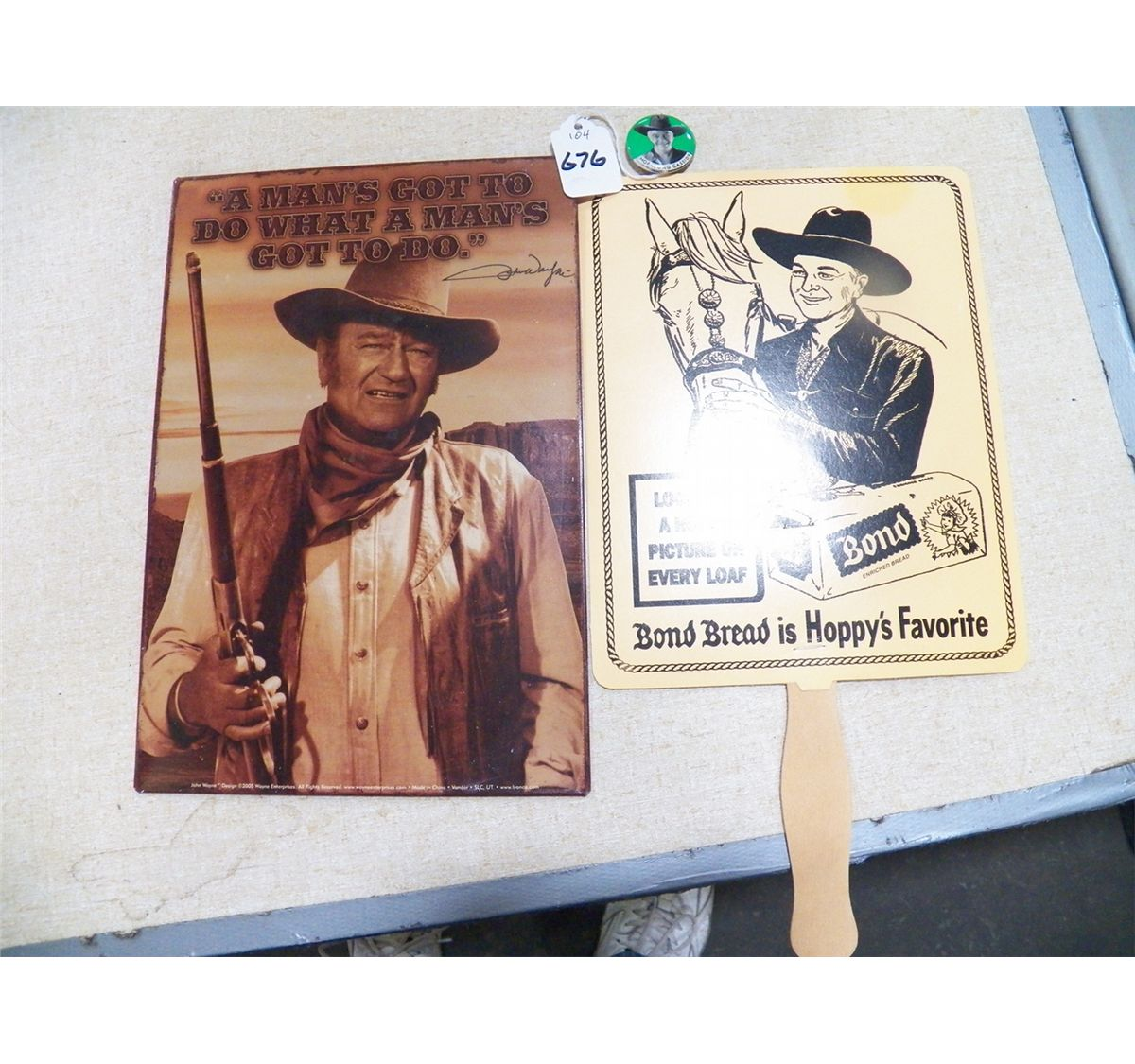 Misc. Lot Of Western Items 1- 8 X 12 John Wayne On Tin, 1