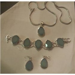 Set of Sterling Silver Necklace, Bracelet and Earrings W/Gemstones